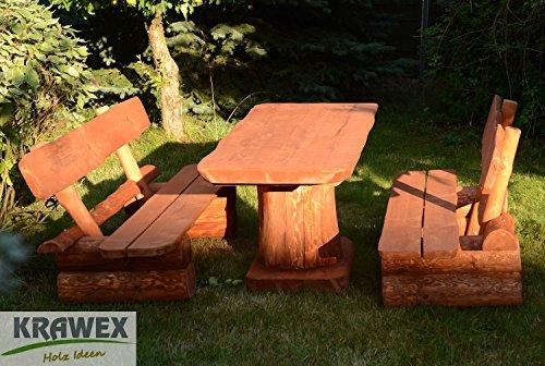 Krawex Sitzgruppe Sitzgarnitur Biergarten Gartenmöbel Gartenbank aus Holz Massiv