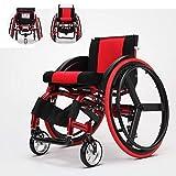 Wheelchair Sedie A Rotelle Semoventi, Super Leggero Rilascio Rapido Lega di Alluminio Scooter Impostazioni Anti-ribaltamento Disabili/Anziani Carrozzina Sportiva per Il Tempo Libero