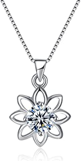 WWYSB Hallow Sunflower 925 Sterling Silver Zircon Necklace Box Chain