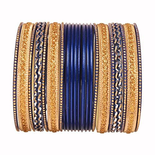 Touchstone 'Colorful 2 Dozen Bangle Collection' Indian Bollywood Alloy Metal Textured Blasting Blue Designer Jewelry Special Large Size Bangle Bracelets Set Of 24 In Antique Gold Tone for Women