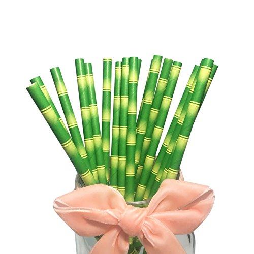 Bofa, cannucce di carta con motivo a bambù, 19,7cm (100pezzi)