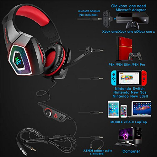 Xbox One Gaming Headset for PS4,PC,LED Light On Ear Headphone with Mic for Mac,Laptop,Nintendo Switch Games Wired Headset (Red)