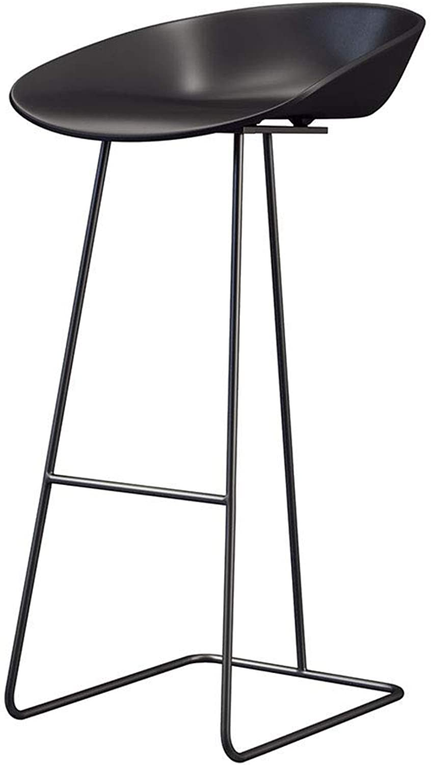Barture Bar Stool-Nordic Bar Chair Wrought Iron Bar Table Chair Cafe Bar Stool Front High Stool Black (Size   65CM)
