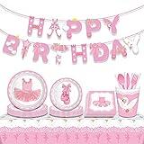 JeVenis 33 unidades de suministros de fiesta de cumpleaños de bailarina platos de fiesta y servilleta bailando niña suministros