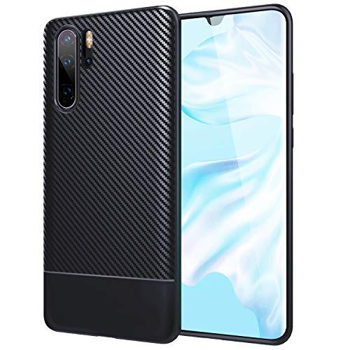 TiMOVO Funda Compatible con Huawei P30 Pro, Anti-arañazos de TPU Protectora Cover de Fibra de Carbono con Soporte de Carga Inalámbrica para Huawei P30 Pro - Azul