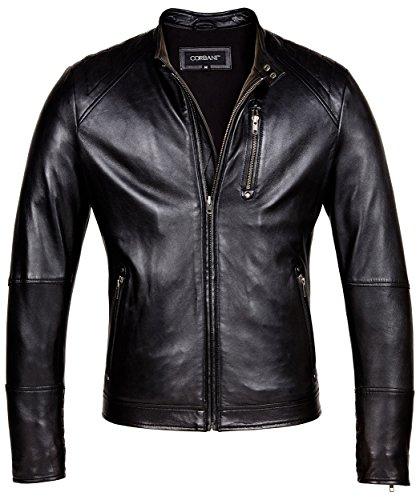 CORBANI Mens Leather Moto Jacket – Designer Mens Genuine Leather Jackets (X-Large, Black)