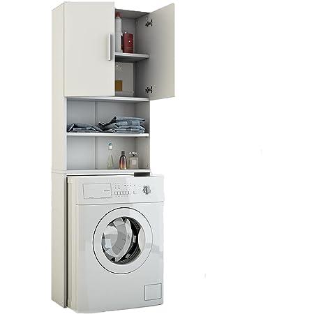 Toilinux.com Meuble de buanderie pour Machine à Laver Jeany - L. 64 x H. 190 cm - Blanc   Meuble de Rangement d'intérieur