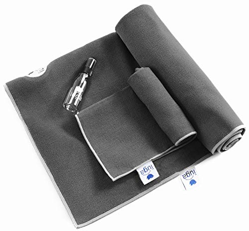IUGA Non Slip Yoga Towel, Extra Thick Hot Yoga Towel + Hand Towel 2in1 Set, Corner Pockets Design to Prevent Bunching, 100% Microfiber – Non Slip, Super Absorbent and Quick Dry