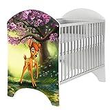 iGLOBAL Cuna de bebé, juego completo con 2 barrotes, colchón ajustable en 3 alturas, espuma y fibras de coco, 120 x 60 cm (Bambi)