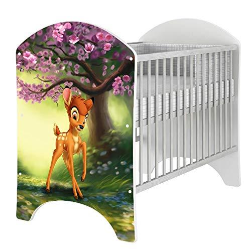 iGLOBAL Babybett Kinderbett Gitterbett Komplettset Ausstattung 2 Schlupfsprossen 3-fach Höhenverstellbarer Matratze Schaumstoff +Kokosfasern 120x60 cm (Bambi)