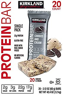 Kirkland Signature Protein Bars Cookies and Cream 2.12 oz, 20-count