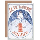 Artery8 La Vie Parisienne January Vintage Magazine Cover Sealed Greeting Card Plus Envelope Blank Inside París Vendimia Portada de la Revista Cubrir