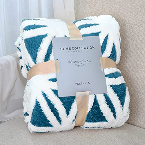 LOMAO Decke Sofa Kuscheldecke-Flauschige Sherpa Kuscheldecke hochwertige Wohndecke, super weiche Fleecedecke als Sofaüberwurf Tagesdecke oder Wohnzimmerdecke (Petrol, 130*160cm)