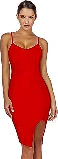 Maketina Women's Spaghetti Strap Deep V Neck Split Club Party Bodycon Bandage Dress