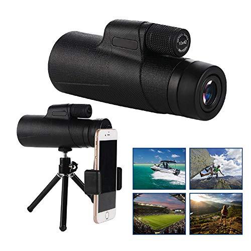 Monocular de alta definición de 12 x 50 con trípode y adaptador de smartphone, prisma monocular-BAK4 impermeable