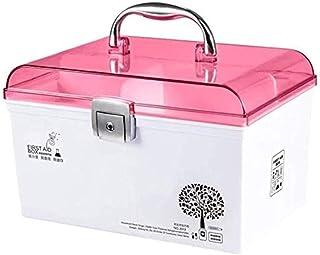 AINIYF Medicine Storage Box Lockable Medicine Box Storage Box Small Medicine Box Child Protection Prescription Storage Box Home First Aid Kit (Color : Pink)