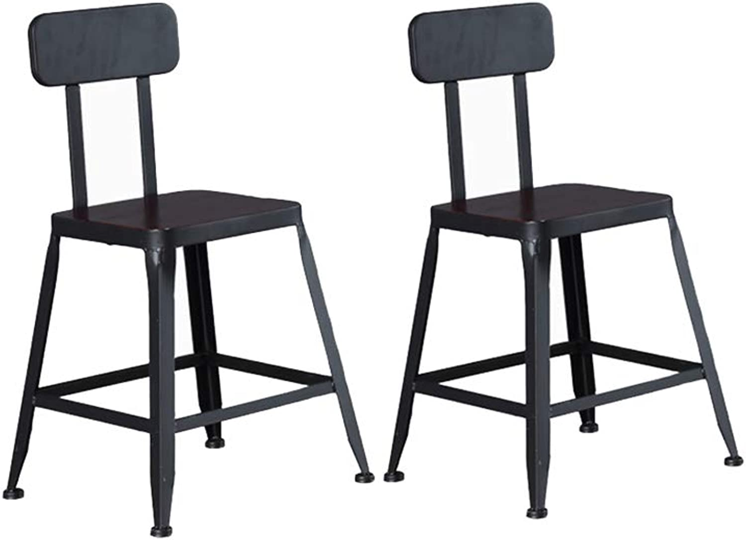 XJBD-Barstools 2 Pcs Bar Chair Kitchen Pub Stools Counter Kitchen Breakfast Dining Chair Black Metal Frame Industrial Retro Safety Backrest (Size   45cm)