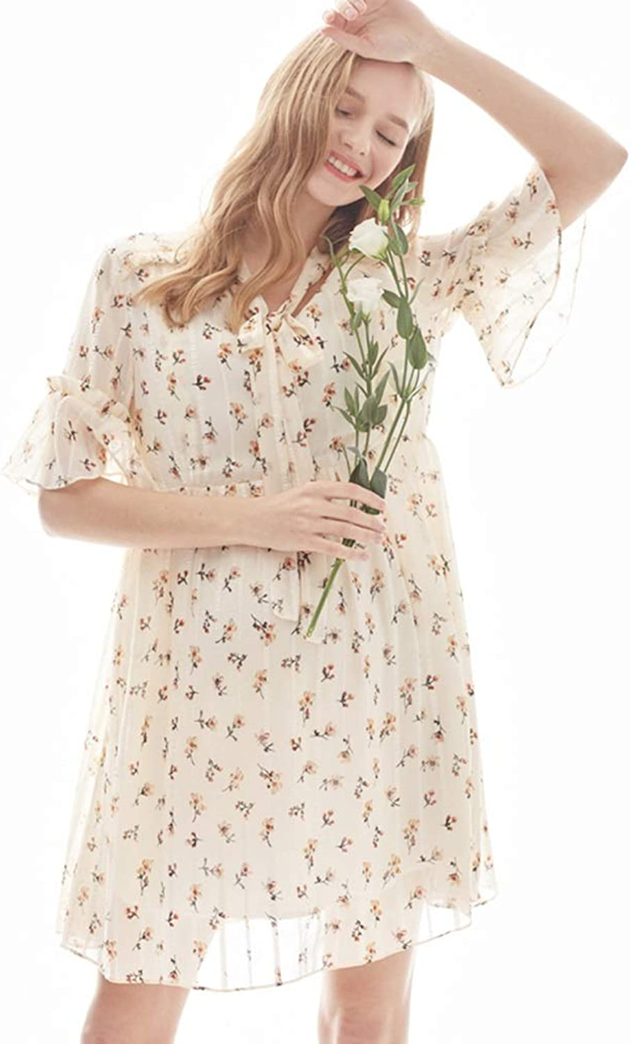 Casual Breastfeeding Dress Short Sleeves Dress Summer Lace Skirt Maternity Floral Skirt Wear to Work (color   Beige, Size   XL)