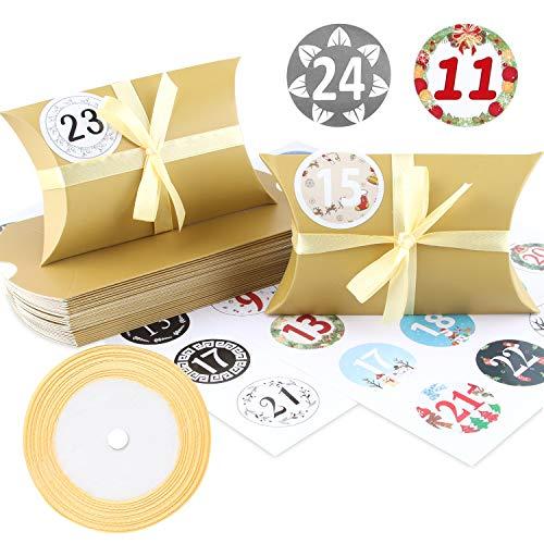 Adventskalender zum Befüllen, 24 Tüten Adventskalender Hochwertiges Kraftpapier, Advent Kalender Handwerk Geschenkbox Weihnachtsbox 13x8,8cm, Inklusive Goldgurt 22m, Digitale Aufkleber (Golden)