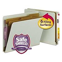 Smead 26810 Pressboard End Tab Classification Folder Letter 6-Section Gray/Green 10/Box