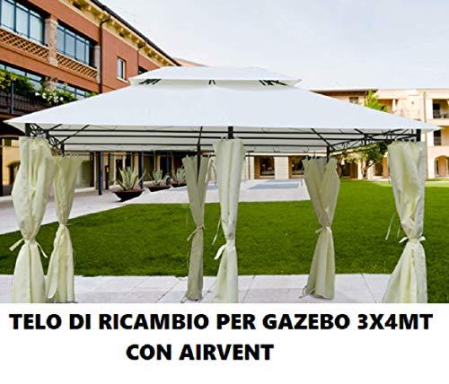 Nishore Telo Impermeabile Ricambio per Gazebo 310g//m/² Bianco Crema 3x4m