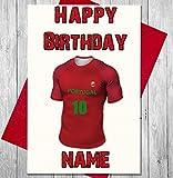 Carte d'anniversaire Ballon de foot Portugal personnalisé–n'importe quel nom et numérotées pour homme