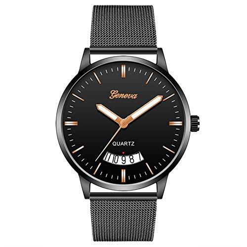 Hombres de Negocios Reloj de Acero Inoxidable Negro Hombre Relojes de Cuarzo Hombres Calendario Reloj Masculino Casual Moda Masculino Reloj Hombre