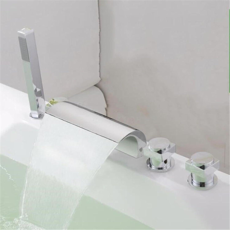 FFJTS Kupfer Split Badewanne Wasserhahn Set + Zylinder Dusche Wasserfall Wasserfall Dusche