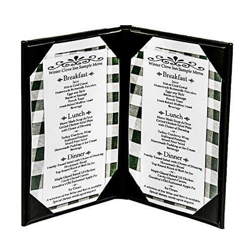 "10-Pack 8-1/2"" x 11""""Classy"" Double Panel Pocket Menu Cover Leatherette"