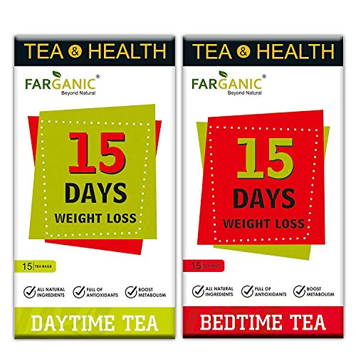 Farganic 15 Days Weight Loss Green Tea. 100% Natural and Herbal. Day Time Tea, Bed Time Tea. Slimming Tea. 30 Tea Bags ( 15+15). Weight Loss. (Pack of 1)