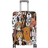 Carneg Cute Doodle Dog Print Animal Funda de Equipaje Flexible de Viaje Protector de Maleta Cubiertas de Equipaje con impresión Personalizada Se Adapta a 18/19/20/21 Pulgadas