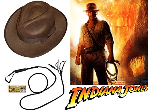 Mega_Jumble Indiana Jones Style Brown Explorer Hat and Bull Whip accesorio para disfraz