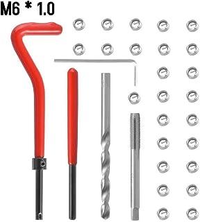 Sangmei Kit de inserção de reparo de rosca métrica de 30 unidades M5 M6 M8 M10 M12 M14 Helicoil Car Pro Coil Tool M6 * 1.0...