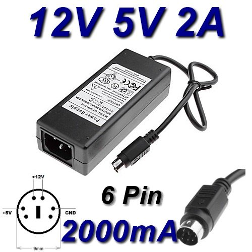 Adapter oplader als vervanging voor JHS-E02AB02-W08B, 12 V, 5 V, 2 A, 6-pins