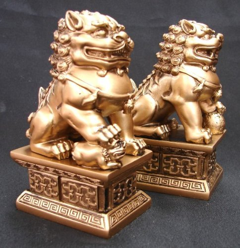 """7"""" Pair of Golden Feng Shui Foo Dogs, Fu Dog Statues, Chinese Civilian Door Gods to Protect Business Home"""