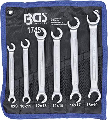BGS 1745 | Offener Doppel-Ringschlüssel-Satz | 6-tlg. | SW 8 x 9 - 18 x 19 mm | inkl. Tetron-Rolltasche | CV-Stahl