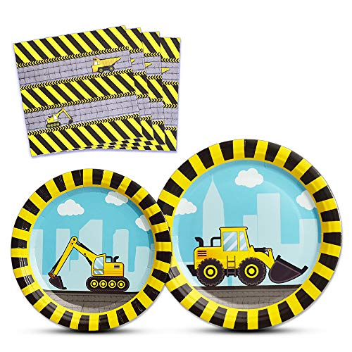 WERNNSAI Construction Party Supplies - Disposable Dump Truck Themed Tableware Set for Boys Kids Birthday Dinner Dessert Plates and Napkins Serves 16 Guests 48PCS