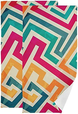 Hand Ranking TOP6 Towel Grunge Geometric Colorful Lines Max 88% OFF Set 2 Towels Face of