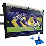 Outdoor TV Cover 52-55 inch - with Front Flap, Weatherproof, Waterproof Protection, Soft Interior, with Bottom Cover + Screen Cleaner & Microfiber Cloth