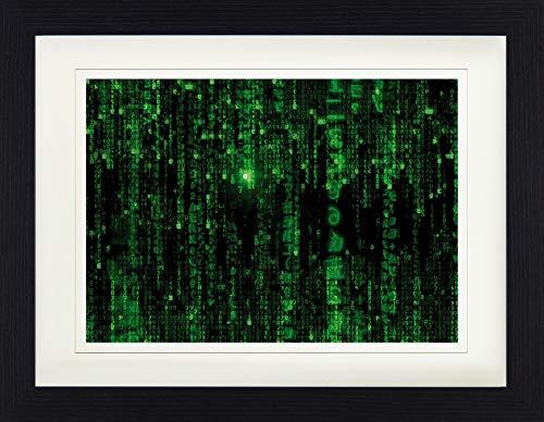 1art1 Matrix - Matrix Code, Grüner Regen Gerahmtes Bild Mit Edlem Passepartout | Wand-Bilder | Kunstdruck Poster Im Bilderrahmen 40 x 30 cm