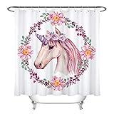 dsgrdhrty Girlande'Einhorn Badezimmer Duschvorhang dekorativen Stil wasserdicht 180x180