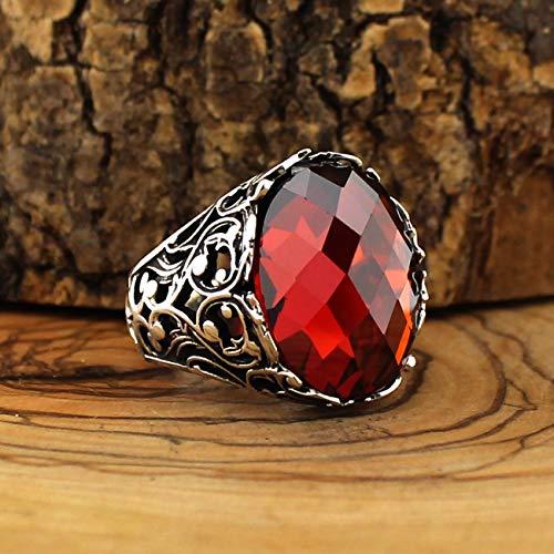 QHKS 925 Anillo de Piedra Natural de Plata esterlina para Hombres Zircon Onyx AQEQ Piedras Joyería Moda Accesorio de Regalo Vintage (Gem Color : Rojo, Ring Size : 11)