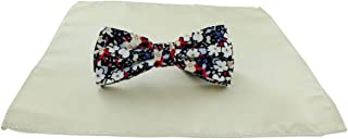 Michelsons of London Mens Contast Floral Bow Tie and Plain Pocket Square Set - Cream