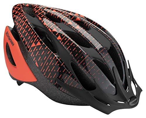 Schwinn Thrasher Bike Helmet, Lightweight Microshell Design, With Rear Light, Adult, Pink Coral/Grey