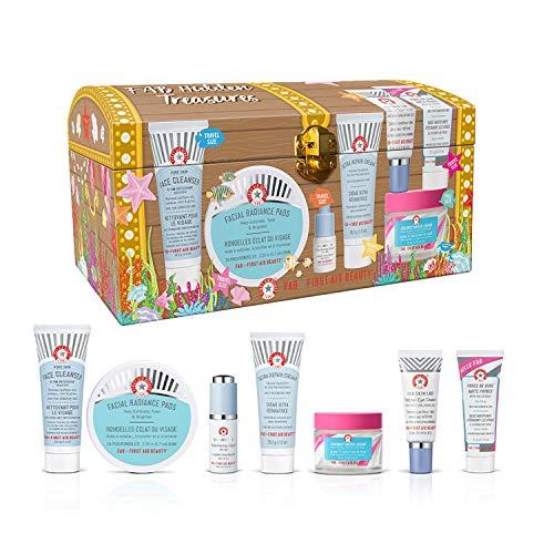 First Aid Beauty Hidden Treasures: Pure Skin Face Cleanser, Facial Radiance Pads, Resurfacing Liquid 10% AHA, Ultra Repair Cream, Retinol Eye Cream, Pores Be Gone Matte Primer & Coconut Water Cream
