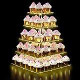 Dawoo 5 Tier Acryl Display für Gebäck + LED Lichterkette, Cupcake Stand Bar Party Dekor, Ideen für Hochzeiten, Geburtstag. (gelbes Licht)