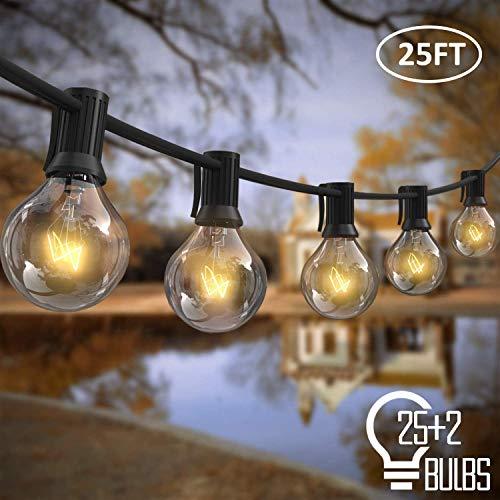 ZWOOS Lichterkette Außen, 7m 25stk G40 Birnen mit 2 Ersatzbirnen, Plug-in Außenleuchte für Garten, Balkon, Terrasse