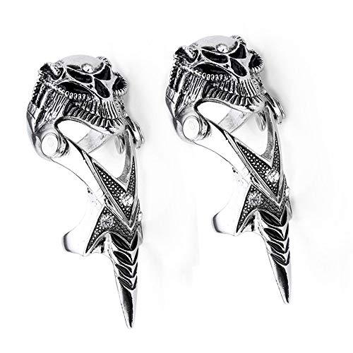 Veawgooea Men's Pirate Skull Ring Armor Knuckle Party Full Finger Halloween 7