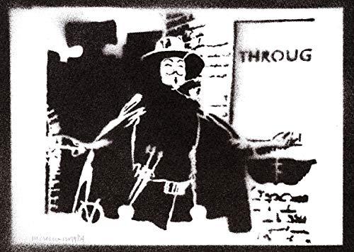 Poster V pour Vendetta Affiche Handmade Graffiti Street Art - Artwork