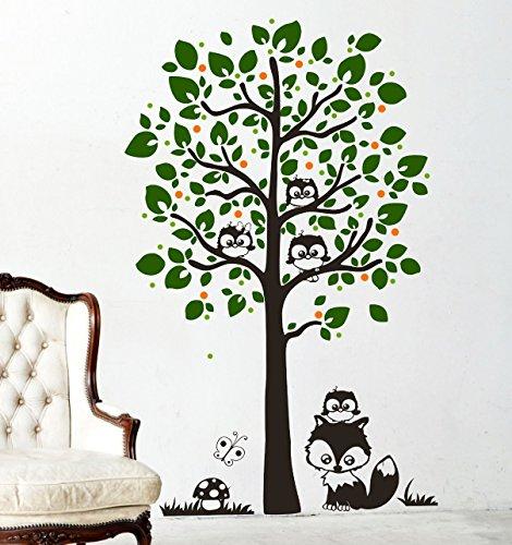Wandtattoo Baum mit Eulen Eulenbaum Eule M1346 - ausgewählte Farbe: *Schoko/Dunkelgrün/Maigrün/Pink* ausgewählte Größe:*L_155cmx100cm
